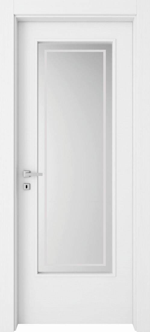 Mod. 201V - Bianco Frassinato con vetro satinato e filetto perimetrale sabbiato