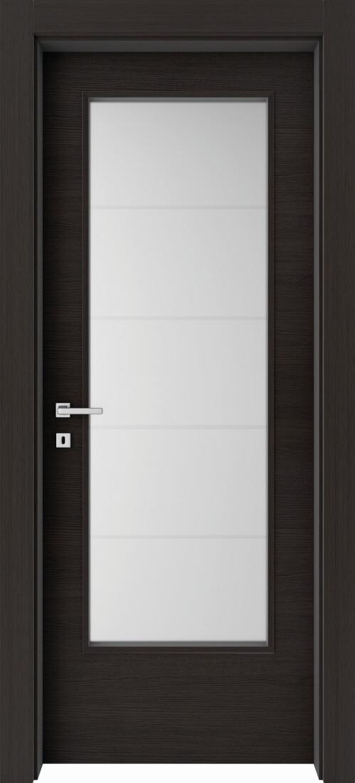 Mod. 201V - Rovere Grigio Rusticato con vetro satinato e 4 strisce orizzontali sabbiate