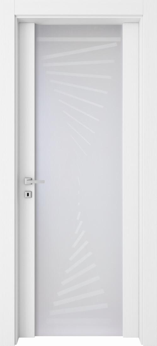 Mod. 280 Glass - Bianco Frassinato con vetro satinato antinfortunistico modello SV-625